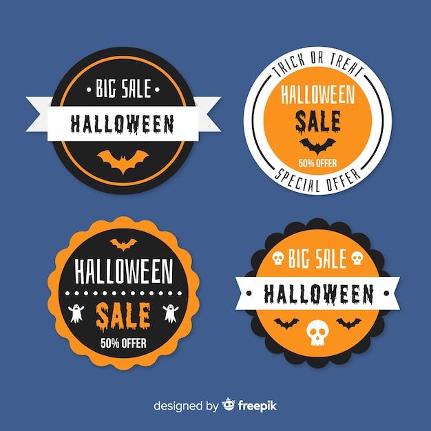 Квартира хэллоуин продажа коллекция багде Бесплатные векторы