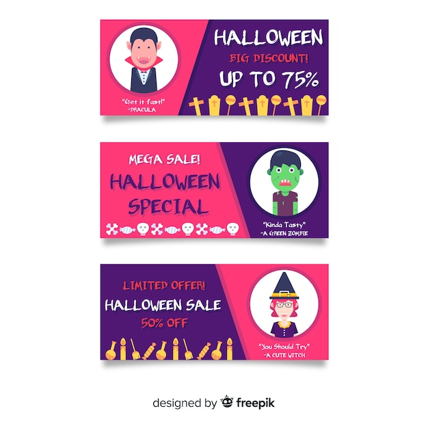 Flat halloween sale banners with discounts Free Vector