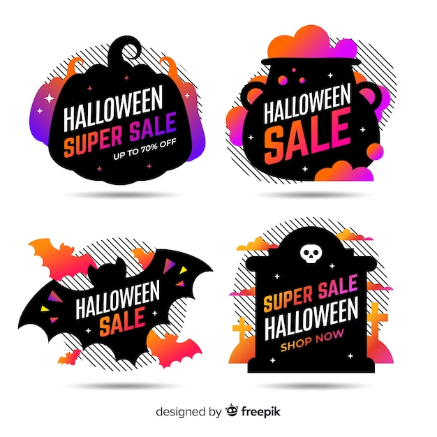 Flat halloween sale label and badge collection in black design Free Vector