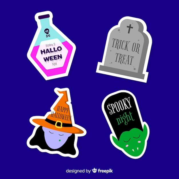 Flat halloween sale label and badge collection Free Vector