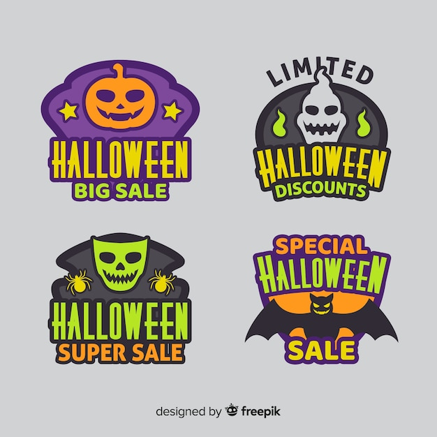 Flat halloween sale sticker collection Free Vector