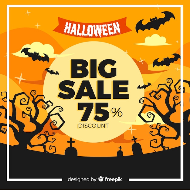 Flat halloween sale with bats in a graveyard Free Vector