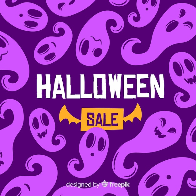 Flat halloween sale with purple ghosts Free Vector