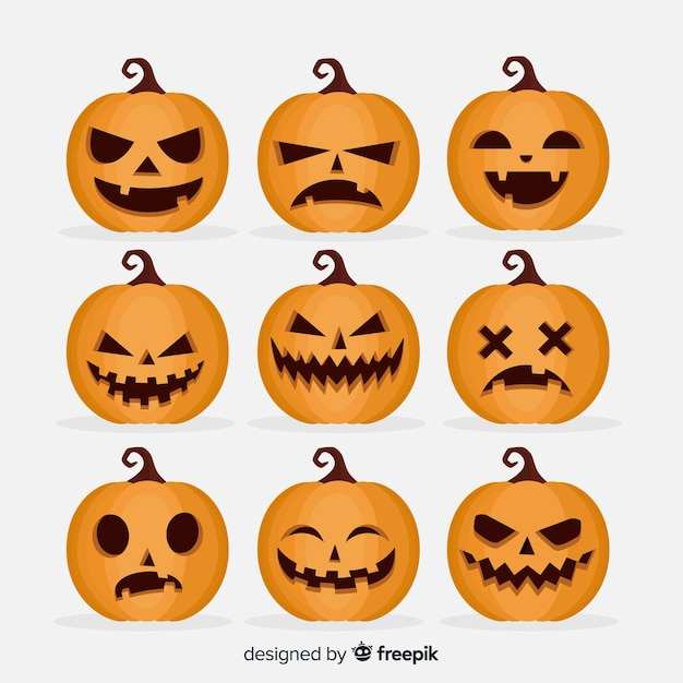 Flat halloween scary pumpkin collection Free Vector