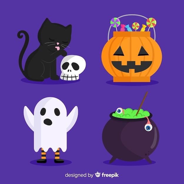 Flat halloween set of cute elements on blue background Free Vector