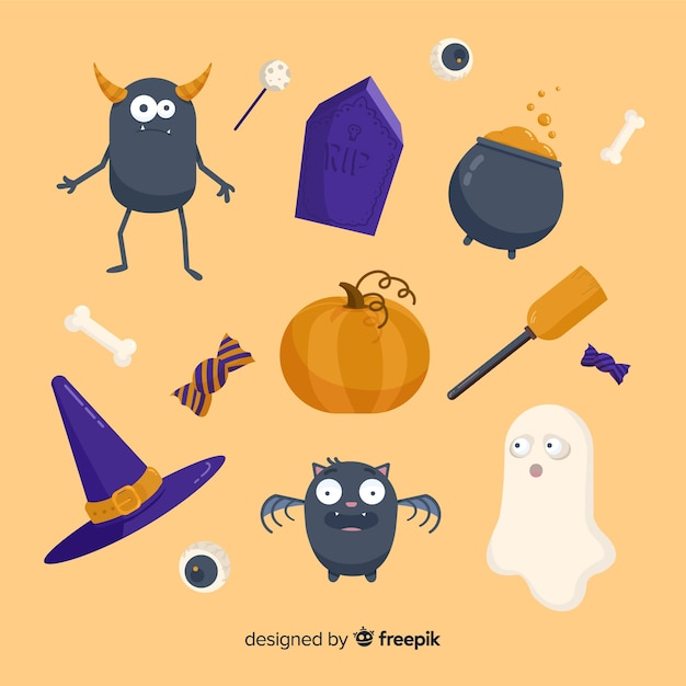 Flat halloween spooky elements collection Free Vector