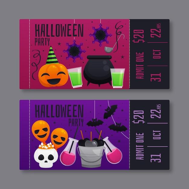 Illustrazione di biglietti di halloween piatto Vettore gratuito