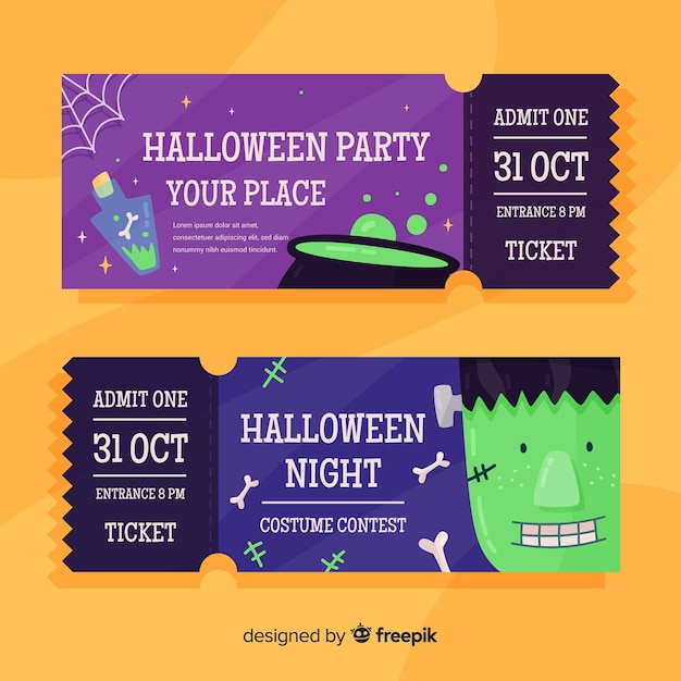 Flat halloween tickets with melting pot and zombie Free Vector