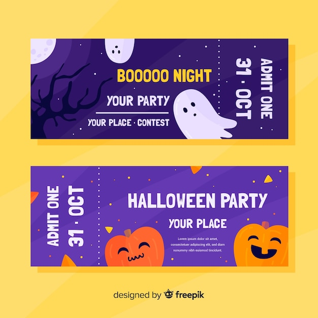 Flat halloween tickets with pumpkin and ghosts Free Vector