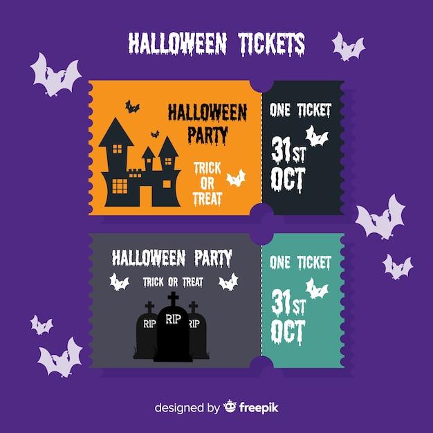 Flat halloween tickets Free Vector