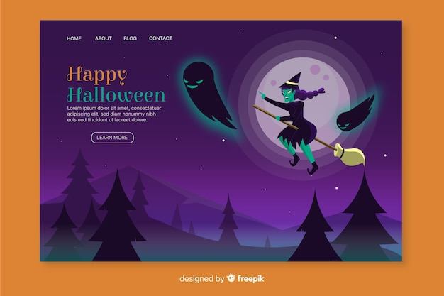 Flat halloween witch landing page Free Vector
