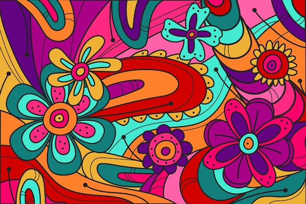 Flat-hand drawn acid colored groovy background Free Vector