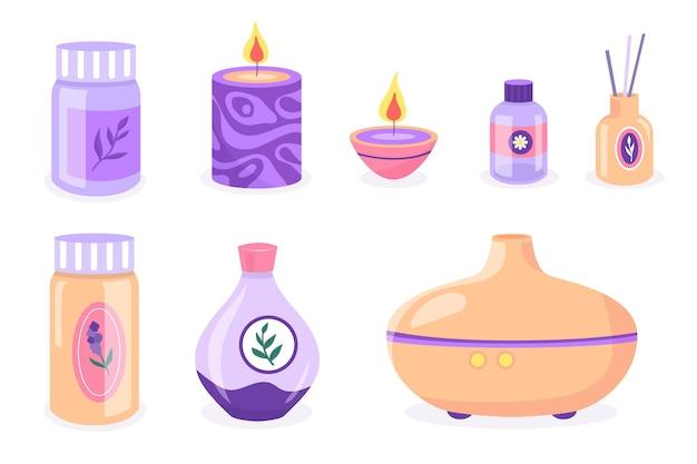 Collezione di elementi di aromaterapia disegnati a mano piatta Vettore gratuito
