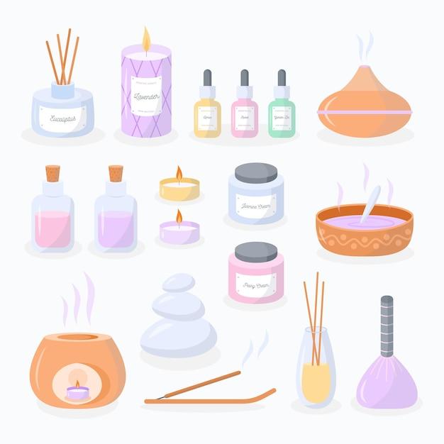 Pacchetto di elementi di aromaterapia disegnati a mano piatta Vettore gratuito