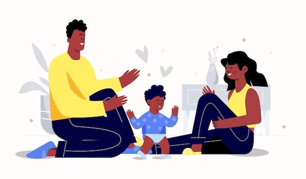 Плоская рисованная черная семья с детской иллюстрацией Бесплатные векторы