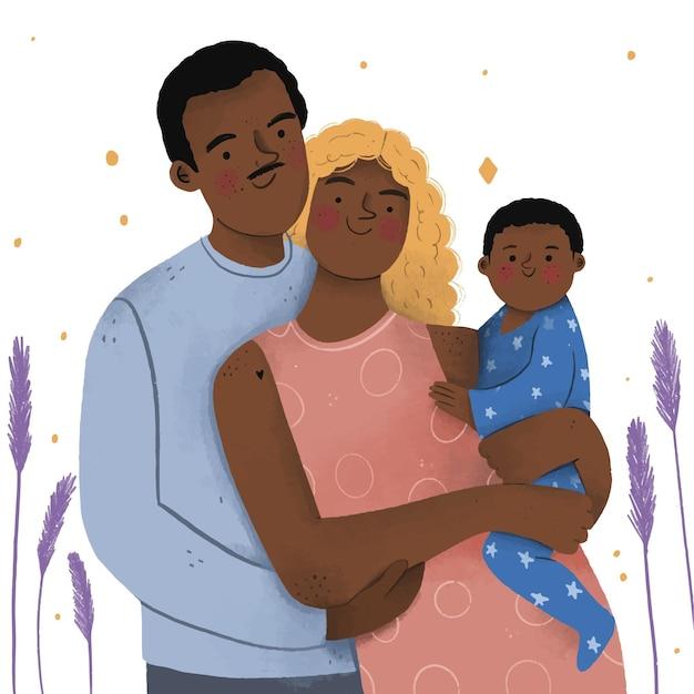 Famiglia nera disegnata a mano piatta con un bambino Vettore gratuito