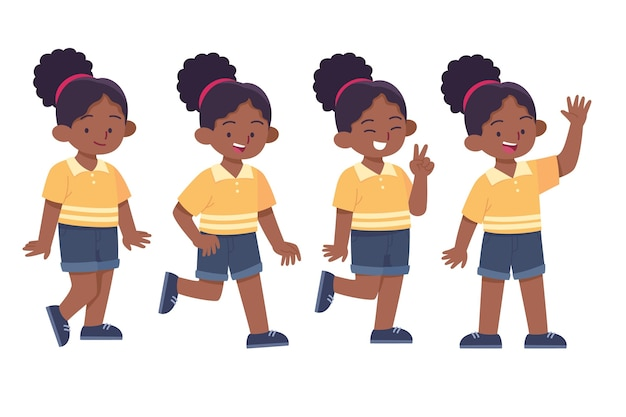 さまざまなポーズのコレクションでフラット手描きの黒人の女の子 無料ベクター