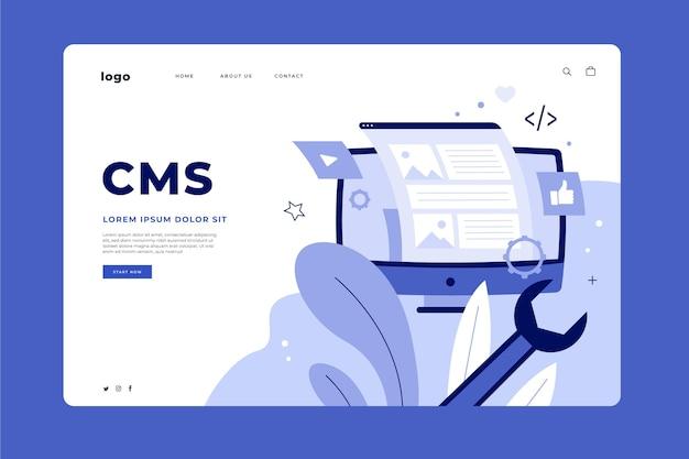 Плоский рисованный веб-шаблон целевой страницы cms Бесплатные векторы