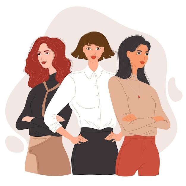 フラット手描きの自信を持って女性起業家 無料ベクター