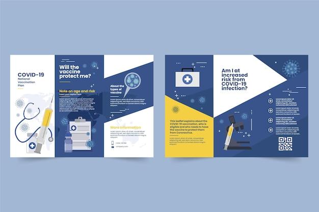 Modello di brochure informativo sulla vaccinazione contro il coronavirus disegnato a mano piatta Vettore gratuito