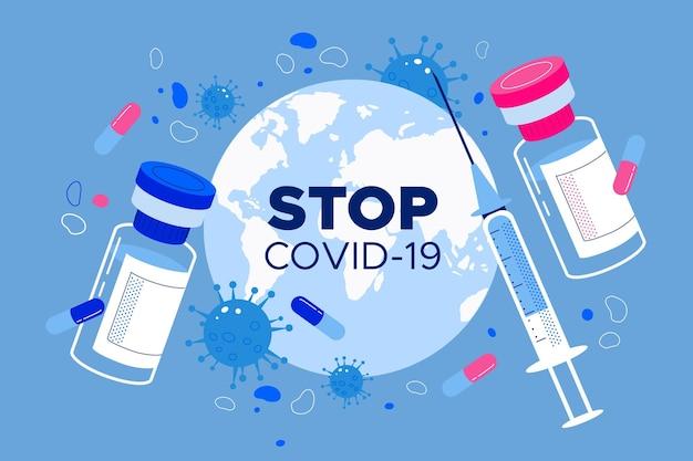 Sfondo di vaccino contro il coronavirus disegnato a mano piatto Vettore gratuito