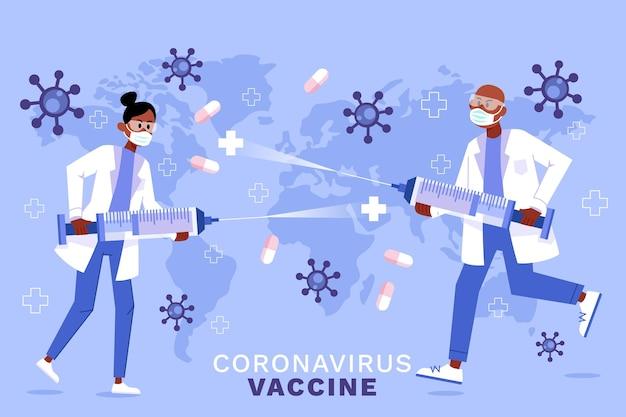 Sfondo di vaccino contro il coronavirus disegnato a mano piatta Vettore gratuito