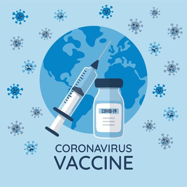 フラット手描きコロナウイルスワクチンイラスト 無料ベクター