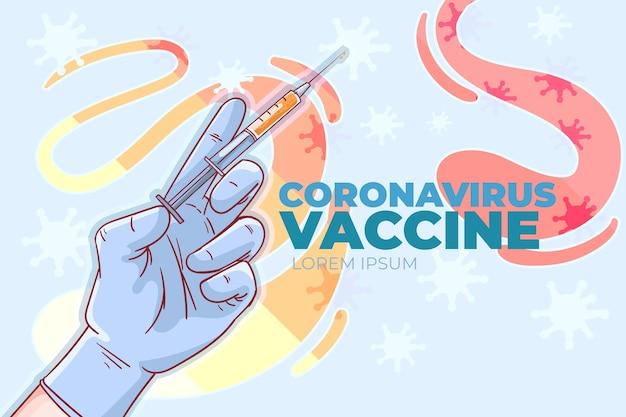 Illustrazione di vaccino contro il coronavirus disegnata a mano piatta Vettore gratuito