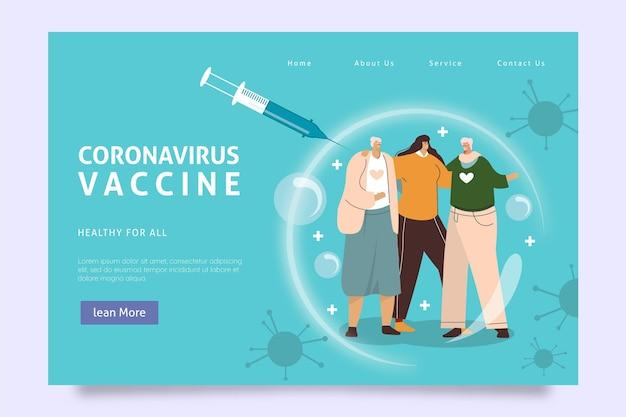 平らな手描きのコロナウイルスワクチンのランディングページテンプレート 無料ベクター