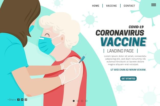 平らな手描きのコロナウイルスワクチンのランディングページ 無料ベクター