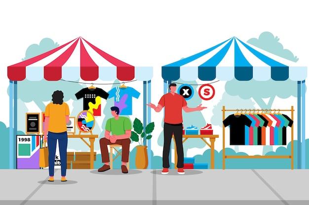 Плоская рисованная концепция блошиного рынка Бесплатные векторы