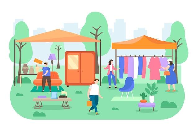 Плоская рисованная иллюстрация блошиного рынка с людьми Бесплатные векторы