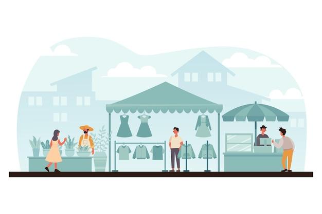 Flat-hand drawn flea market illustration with people Free Vector