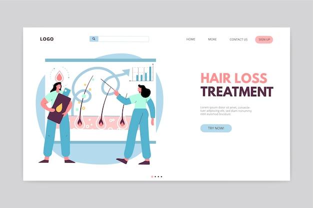 Шаблон целевой страницы для лечения выпадения волос Бесплатные векторы