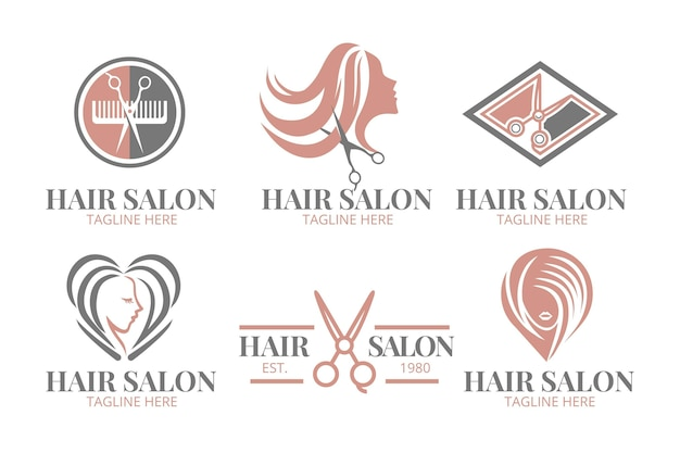 Flat-hand drawn hair salon logo collection Premium Vector