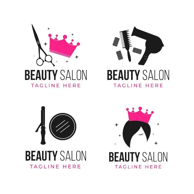 Набор плоских рисованной парикмахерской с логотипом Бесплатные векторы