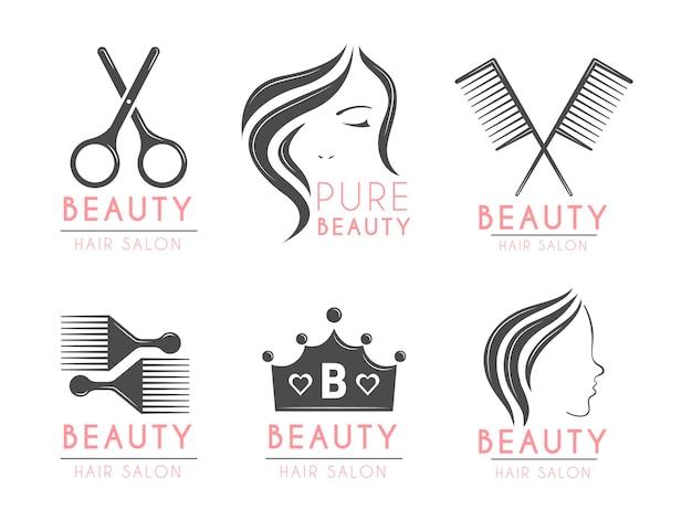 Набор плоских рисованной парикмахерской с логотипом Premium векторы