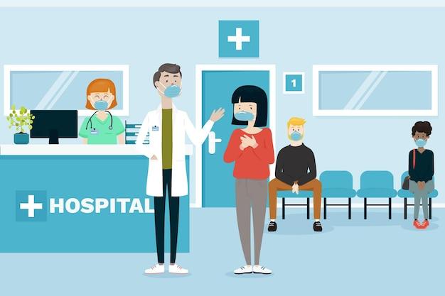 Сцена приема в больнице Бесплатные векторы