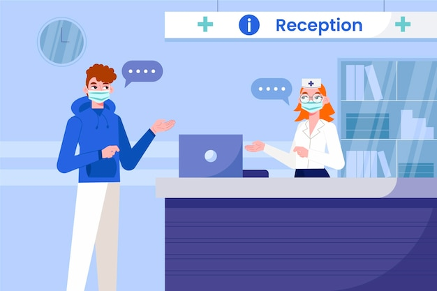 Flat-hand drawn hospital reception scene Premium Vector