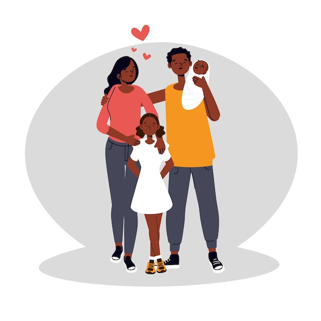 Illustrazione disegnata a mano piatta famiglia nera con un bambino Vettore gratuito