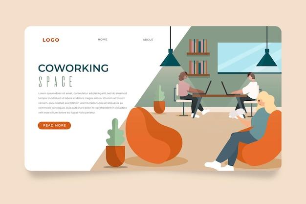 Ufficio di coworking pagina di destinazione disegnata a mano piatta Vettore gratuito