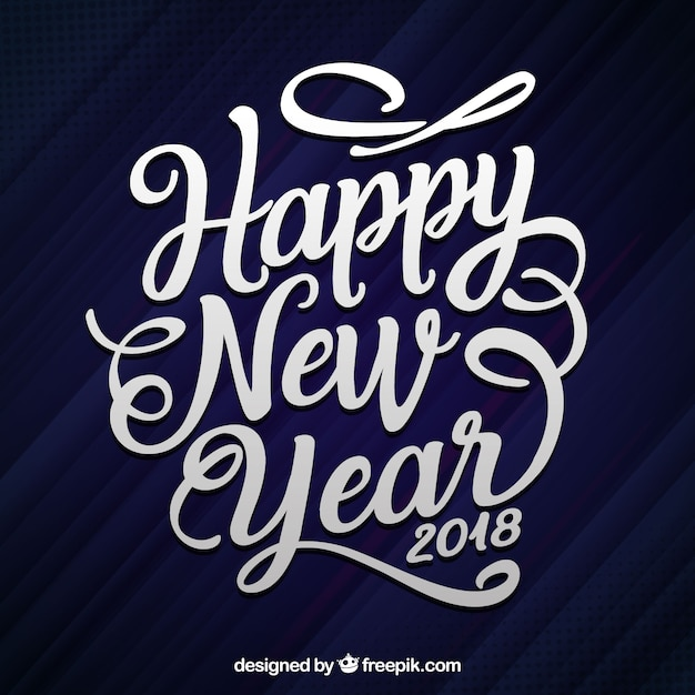 Flat hand drawn lettering happy new year 2018 Vector
