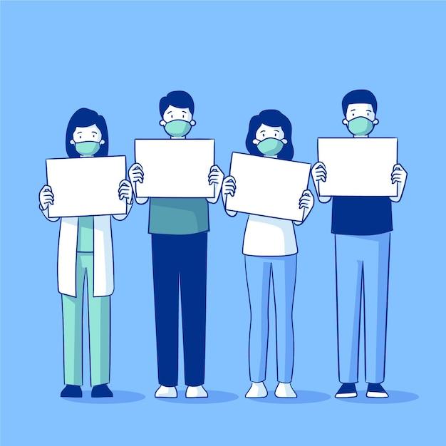 Persone disegnate a mano piatta in maschere mediche con cartelli vuoti Vettore gratuito