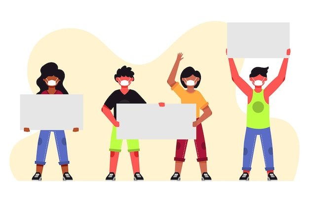 Flat-hand drawn people in medical masks with blank placards Free Vector