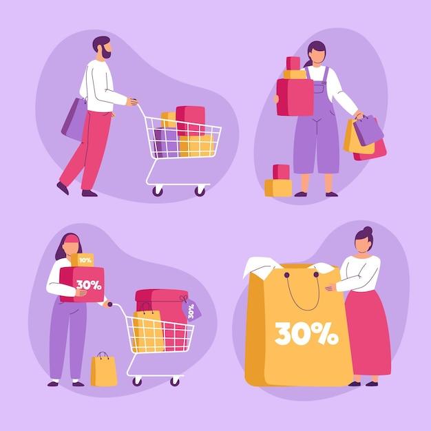 평면 손으로 그린 사람들이 판매 쇼핑 무료 벡터