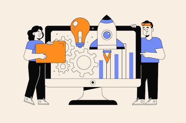 Нарисованные от руки люди, начинающие бизнес-проект Бесплатные векторы
