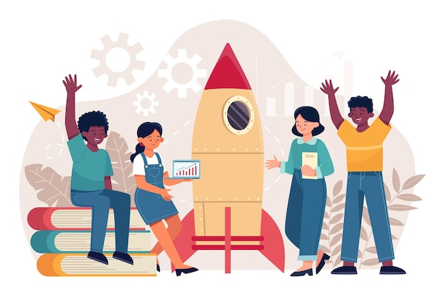 Flat-hand drawn people starting a business project Free Vector