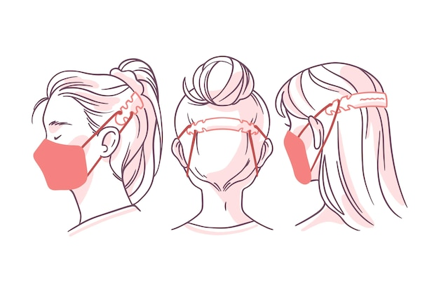 Flat-hand drawn people wearing an adjustable face mask strap Free Vector