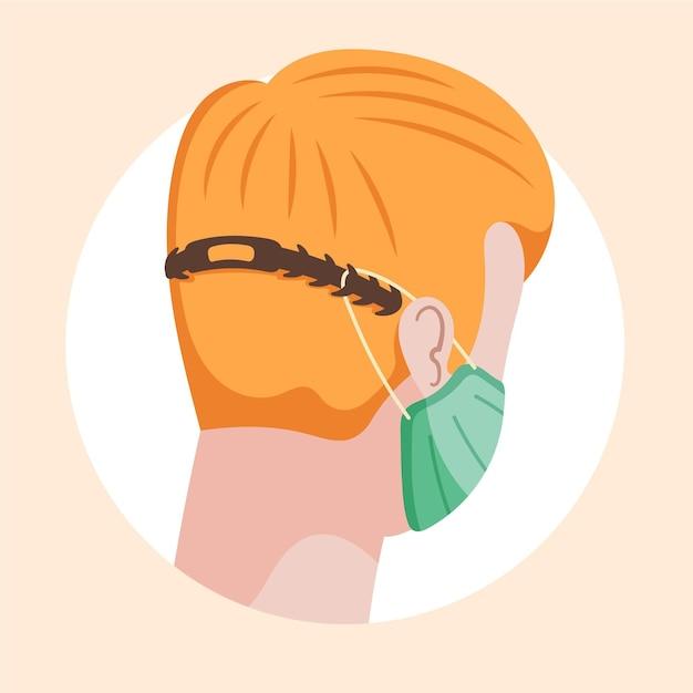조절 가능한 안면 마스크 스트랩을 착용 한 평면 손으로 그린 사람들 무료 벡터