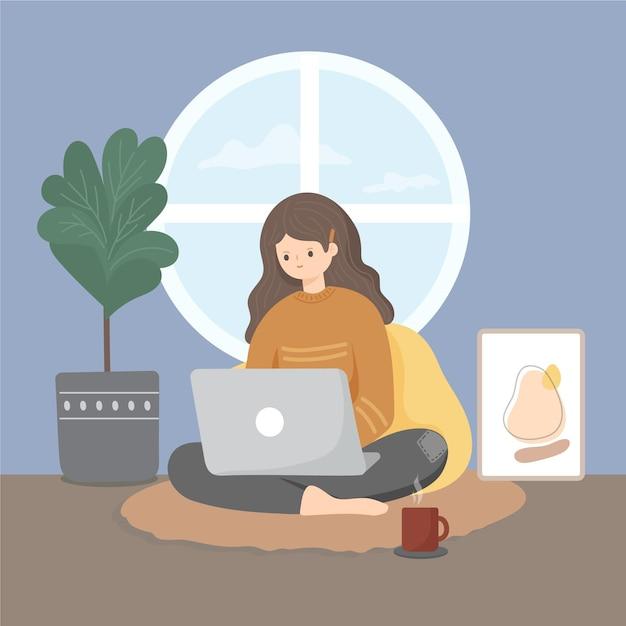 Плоская рисованная иллюстрация удаленной работы с женщиной Бесплатные векторы